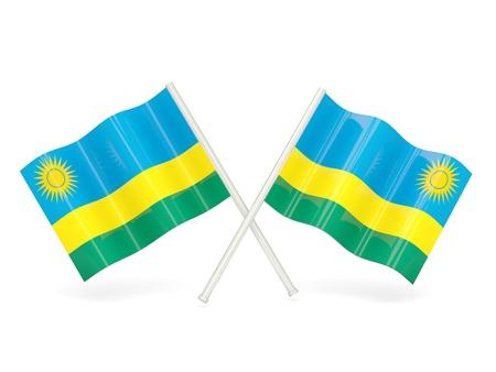 rwanda: Two wavy flags of rwanda isolated on white Stock Photo