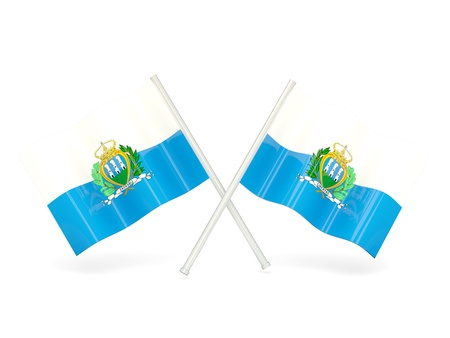 Two wavy flags of san marino isolated on white photo