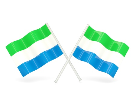 sierra: Two wavy flags of sierra leone isolated on white Stock Photo