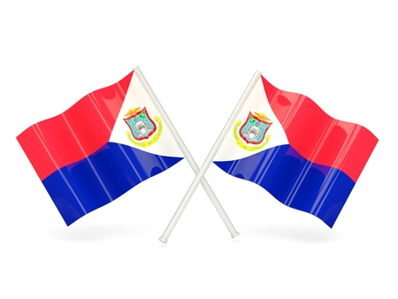 sint: Two wavy flags of sint maarten isolated on white