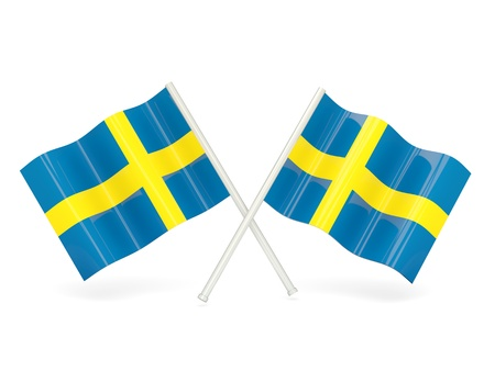 Two wavy flags of sweden isolated on white photo