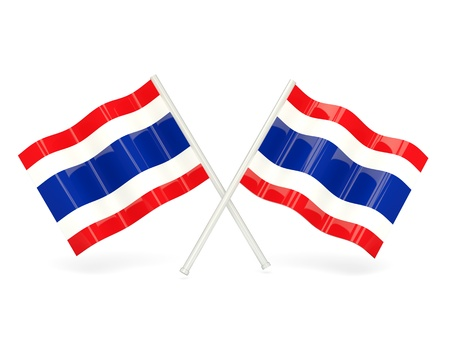 Two wavy flags of thailand isolated on white photo