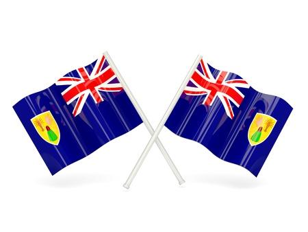 turks: Dos banderas onduladas de Islas Turcas y Caicos aislados en blanco
