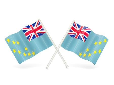 tuvalu: Two wavy flags of tuvalu isolated on white