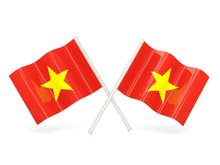 Two wavy flags of vietnam isolated on white photo