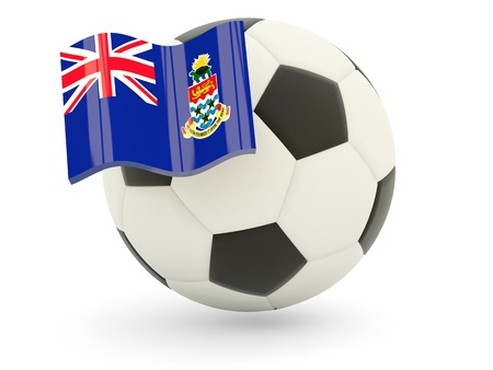 Football with flag of cayman islands isolated on white photo