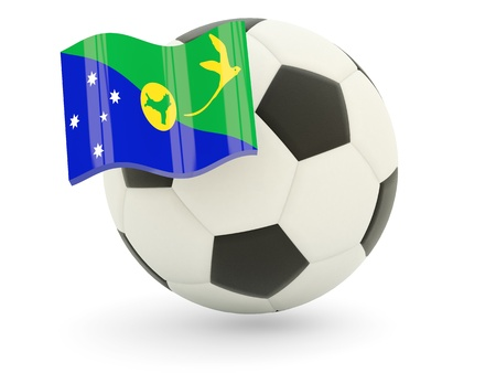 Football with flag of christmas island isolated on white photo
