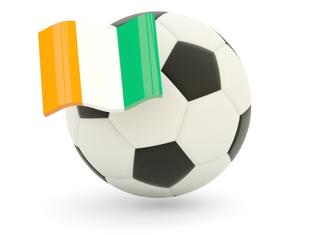 cote d ivoire: Football with flag of cote d Ivoire isolated on white