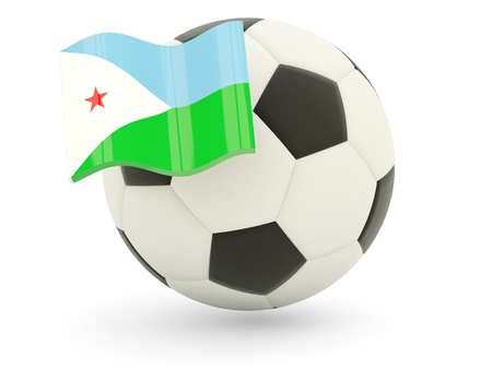 Football with flag of djibouti isolated on white photo