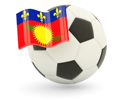 guadeloupe: Football with flag of guadeloupe isolated on white