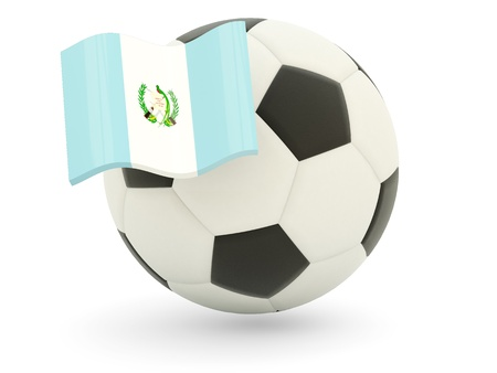 Football with flag of guatemala isolated on white photo
