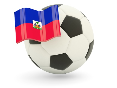 Football with flag of haiti isolated on white photo