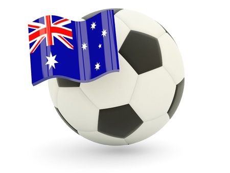 heard: Football with flag of heard island and mcdonald islands isolated on white