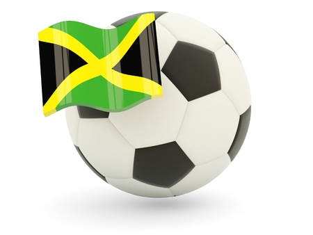 Football with flag of jamaica isolated on white photo