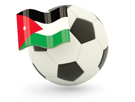 Football with flag of jordan isolated on white photo
