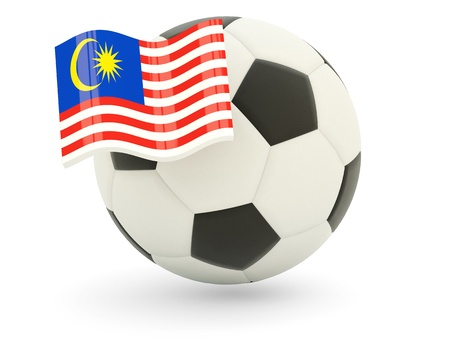 Football with flag of malaysia isolated on white photo