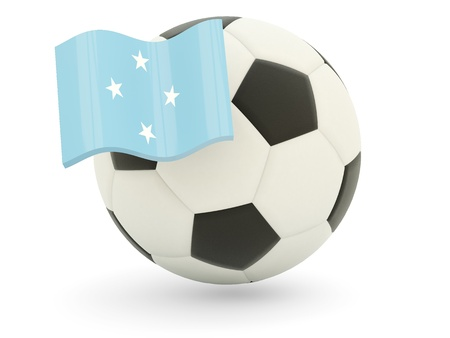 micronesia: Football with flag of micronesia isolated on white