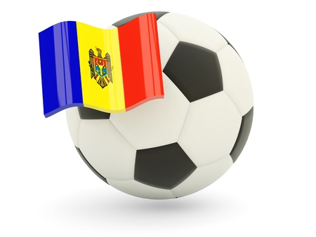 Football with flag of moldova isolated on white photo