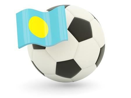 Football with flag of palau isolated on white photo