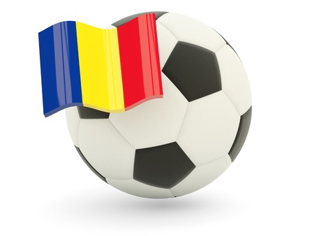Football with flag of romania isolated on white Stock Photo - 18994231