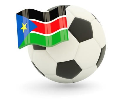 south sudan: Football with flag of south sudan isolated on white Stock Photo