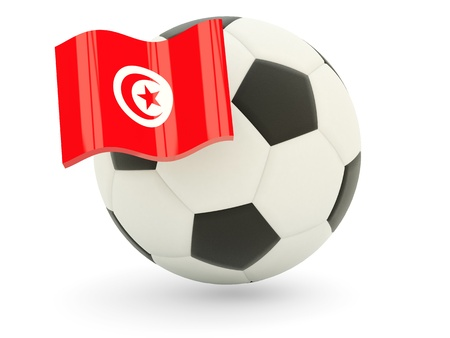 Football with flag of tunisia isolated on white photo