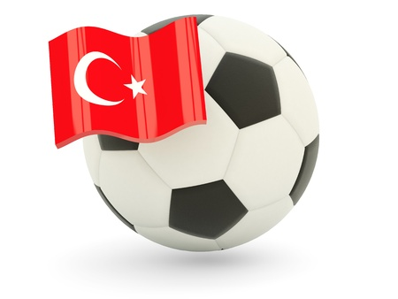 Football with flag of turkey isolated on white photo