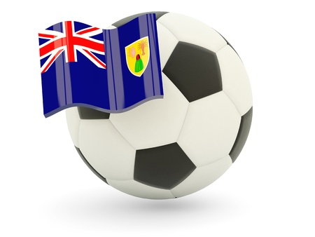 turks: F�tbol con la bandera de Turks and Caicos Islands aislado en blanco