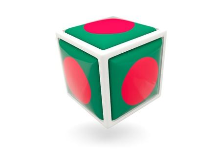 bangladesh 3d: Cube icon of flag of bangladesh isolated on white