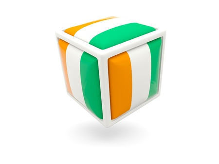 cote d'ivoire: Cube icon of flag of cote d Ivoire isolated on white