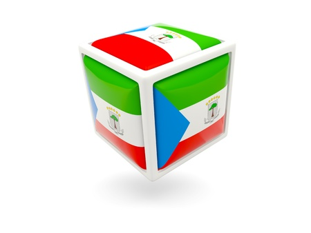 equatorial guinea: Cube icon of flag of equatorial guinea isolated on white Stock Photo