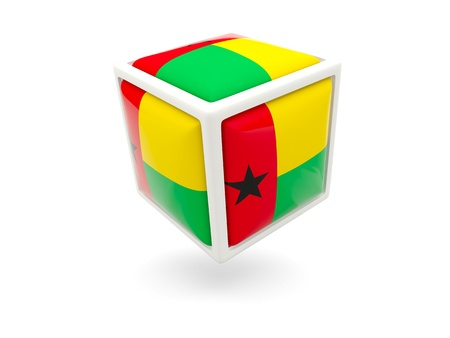 guinea bissau: Cube icon of flag of guinea bissau isolated on white Stock Photo