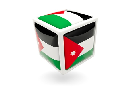 Cube icon of flag of jordan isolated on white photo