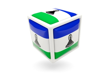 Cube icon of flag of lesotho isolated on white photo
