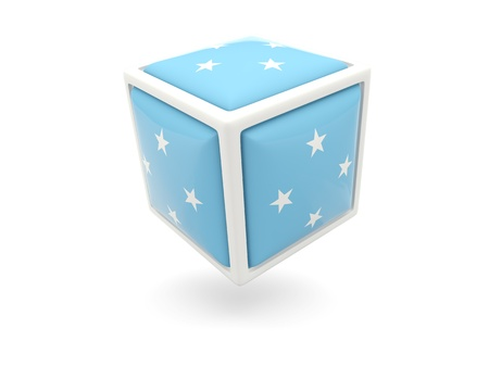 Cube icon of flag of micronesia isolated on white photo