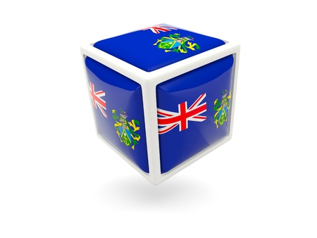 pitcairn: Cube icon of flag of pitcairn islands isolated on white