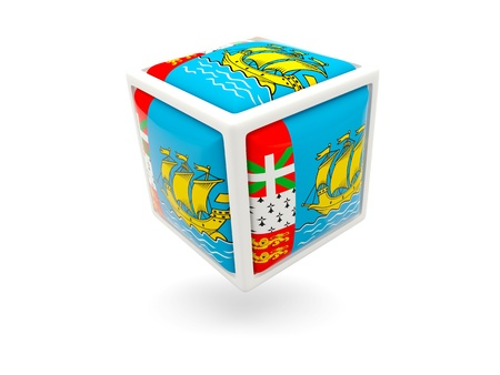 pierre: Cube icon of flag of saint pierre and miquelon isolated on white Stock Photo