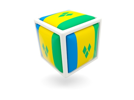 grenadines: Cube icon of flag of saint vincent and the grenadines isolated on white