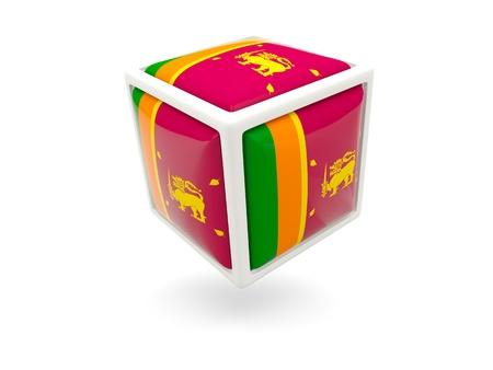 lanka: Cube icon of flag of sri lanka isolated on white Stock Photo