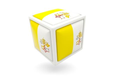 ciudad del vaticano: Icono de cubo de la bandera de la Ciudad del Vaticano aislado en blanco