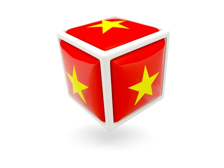 Cube icon of flag of vietnam isolated on white photo