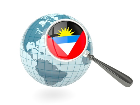 antigua flag: Magnified flag of antigua and barbuda with blue globe isolated on white