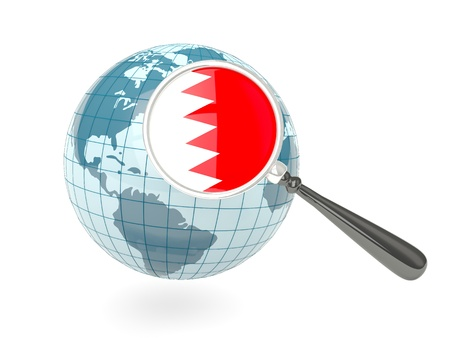 Magnified flag of bahrain with blue globe isolated on white photo