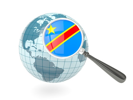 Magnified flag of democratic republic of the congo with blue globe isolated on white photo