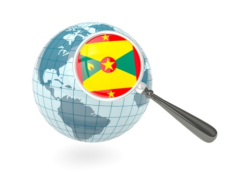 Magnified flag of grenada with blue globe isolated on white photo