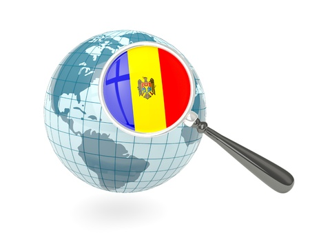 Magnified flag of moldova with blue globe isolated on white photo