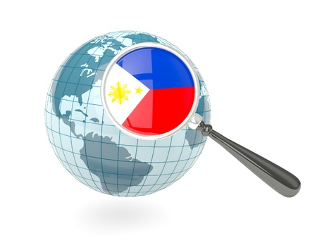 philippines map: Magnified flag of philippines with blue globe isolated on white Stock Photo