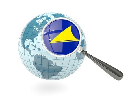 tokelau: Magnified flag of tokelau with blue globe isolated on white Stock Photo
