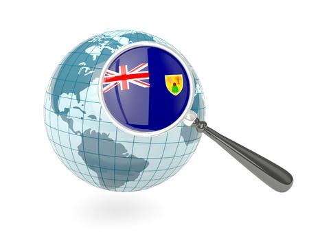 turks: Bandera magnificado de Islas Turcas y Caicos con globo azul aislado en blanco