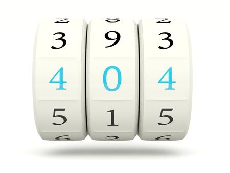 404 error on slot machine isolated on white Stock Photo